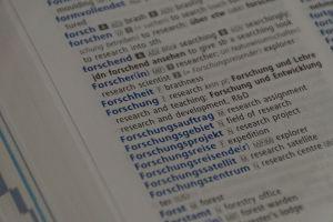 """Auszug aus einem deutsch-englischen Wörterbuch zu """"Forschung"""""""